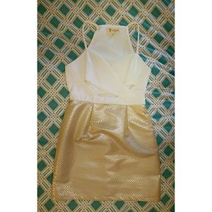 Lulu's L'ATISTE white/gold cutout dress size S